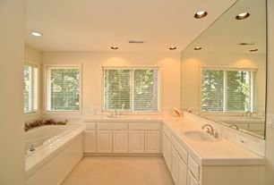 Traditional Master Bathroom with Inset cabinets, Dura Supreme Cabinetry Oxford Classic Panel, Carpet, Built-in bookshelf