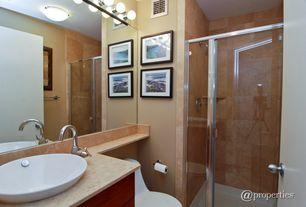 Modern 3/4 Bathroom with Sunset Lighting 8 Light Bath Vanity Light, Kingston Brass Concord Single Handle Vessel Sink Faucet