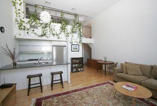 Contemporary Great Room with Built-in bookshelf, Loft, Hardwood floors