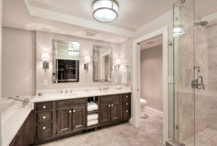 Contemporary Master Bathroom with Pendant light, High ceiling, Corian counters, Flat panel cabinets, terracotta tile floors