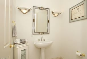 Modern Powder Room with Design Classics Lighting Two Light Wall Sconce, Kohler Wellworth Pedestal Lavatory, Vinyl floors