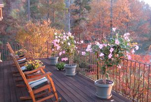 Cottage Deck with Deck Railing, Metal railing, Wood decking, Large potted plants, Grandinroad nantucket rocking chair