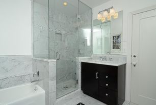 Contemporary Full Bathroom with Master bathroom, frameless showerdoor, Frameless, Complex Granite, European Cabinets