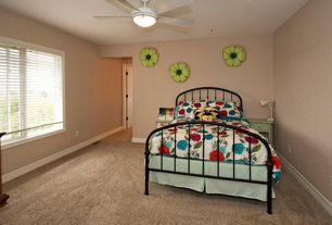 Eclectic Guest Bedroom with no bedroom feature, Pendant light, Ceiling fan, Casement, Carpet, Standard height