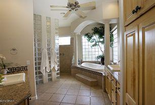 Traditional 3/4 Bathroom with Arizona Tile, Giallo Portofino, Granite., Arizona Tile, Amalfi Series, Porcelain, Columns
