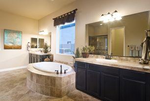 Traditional Full Bathroom with Slate tile counters, Daltile travata caramel haze tv92, Flat panel cabinets, Stone Tile