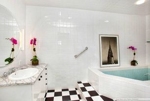 Contemporary Full Bathroom with Standard height, Wall sconce, large ceramic tile floors, can lights, Simple Marble, Bathtub