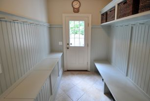 Cottage Mud Room with Glass panel door, Built-in bookshelf