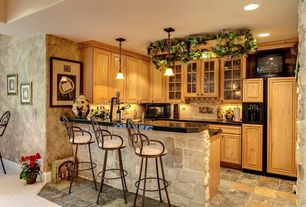 Traditional Kitchen with Pendant light, High ceiling, Dura Supreme Cabinetry Valencia Classic Panel, Soapstone counters