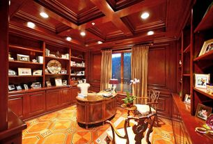 Traditional Home Office with Carpet, Box ceiling, High ceiling, Crown molding, picture window, can lights, Built-in bookshelf