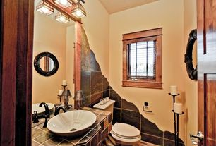 Craftsman Powder Room with specialty door, stone tile counters, Powder room, Standard height, Slate tile counters, Casement