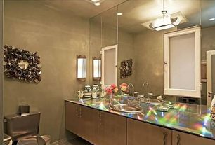Contemporary Powder Room with Wall sconce, Stainless steel counters, Built-in bookshelf, flush light, Flat panel cabinets