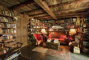 Rustic Home Office with Fireside Lodge Traditional Cedar Log Bench, Feizy Ustad Gold Area Rug