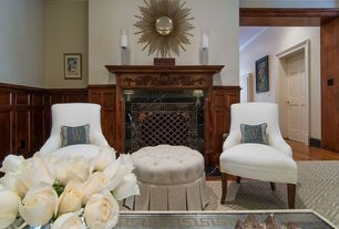 """Contemporary Living Room with Ballard designs custom gramercy upholstered chair, """"ellsworth"""" collection tufted ottomans"""