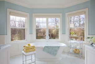 Traditional Master Bathroom with Crown molding, Complex marble counters, Avon acrylic pedestal tub, Flat panel cabinets