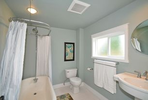 Cottage Full Bathroom with Decor Wonderland Frameless Marisol Wall Mirror, Paint 1, penny tile floors, Standard height