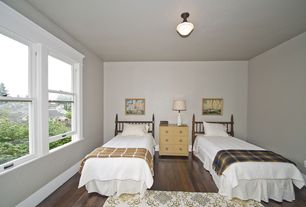 Contemporary Guest Bedroom with flush light, Hardwood floors