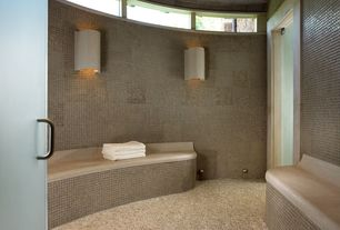 Contemporary Master Bathroom with Wall sconce, Standard height, Powder room, penny tile floors, can lights, picture window