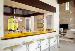 Contemporary Kitchen with Glass panel, Breakfast bar, Chroma vitamin c, Corian counters, European Cabinets, Undermount sink