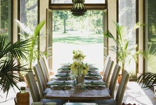 Traditional Dining Room with Pine expandable dining table - dusk finish