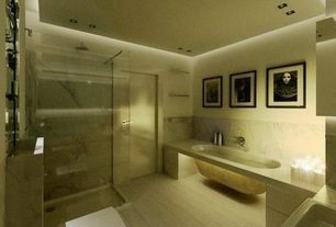 Modern Full Bathroom with Ms international carrara white c/d marble, Ms international white oak marble