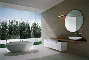 Contemporary Full Bathroom with Signature hardware - abriana oval vessel sink, Pental - focus porcelain collection in cenere