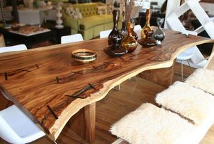 Contemporary Dining Room with Hardwood floors, Russian olive wood slab - beautiful shape - solid slab - table top