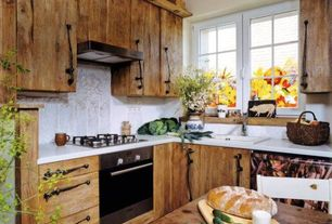 Rustic Kitchen with Casement, Breakfast nook, One-wall, Simple marble counters, Standard height, Complex Marble, gas range
