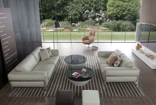 Modern Living Room with Dorset Coffee Table, Singular Sofa, Meticulously Woven Valence Casual Striped Area Rug