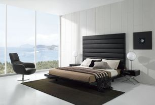 Contemporary Master Bedroom with Prince Platform Bed - Tall Headboard, Slate Leather, Brett Lounge Chair