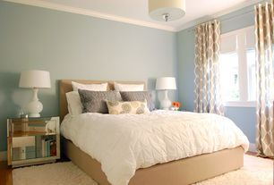 Contemporary Master Bedroom with Shag rug, West Elm Organic Cotton Pintuck Duvet Cover + Shams White, Crown molding
