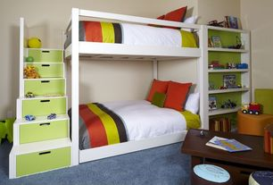 Contemporary Kids Bedroom with School house stair loft bed