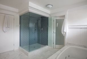 "Contemporary Master Bathroom with Calacatta gold italian marble 12 x 12"" tile honed, Loft blue gray polished 3x6 glass tile"