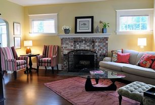 Traditional Living Room with High ceiling, Crown molding, Laminate floors