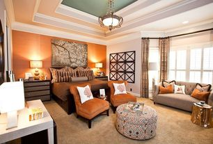 Eclectic Master Bedroom with flush light, Carpet, Arteriors Home Subin Stump Table, High ceiling, Tray ceiling, Crown molding