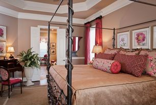 Country Master Bedroom with Chair rail, High ceiling, Crown molding, French doors, simple marble tile floors