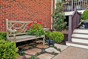 Traditional Landscape/Yard with exterior stone floors, Deck Railing