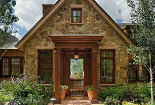 Cottage Front Door with Wood frame windows