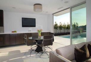 Contemporary Great Room with Concrete floors, Cassandra 2 Light Flush Mount, Goodland Sofa in Fabric, Walnut Legs