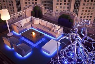 Contemporary Patio with Fire pit coffee table, Neon lighting, Modern patio light grey sectional sofa set, Outdoor seating