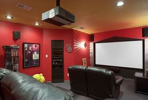 Modern Home Theater with Carpet, Wall sconce