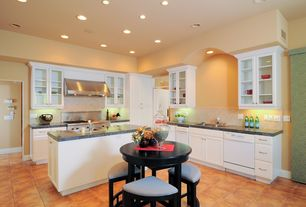 Traditional Kitchen with Glass panel, High ceiling, Porcelain tile, L-shaped, Triangle quarter pie shaped chair