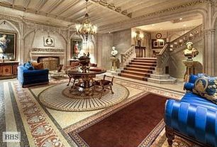 Traditional Entryway with Cement fireplace, Fireplace, can lights, Chandelier, Carpet, Standard height, Sunken living room