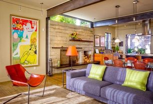 Eclectic Great Room with Laminate floors, Standard height, Mural, Fireplace, Pendant light, picture window, brick fireplace
