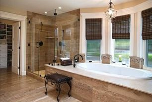 Traditional Master Bathroom with Concrete tile , Brizo T67475 Odin 4-Hole Roman Tub with Hand Shower, Handheld showerhead