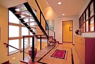 Contemporary Staircase with Floating staircase, Sunken living room, Carpet, High ceiling