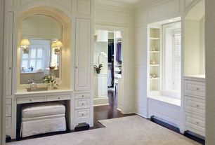 Traditional Master Bathroom with Crown molding, Ethan Allen - Chandler Ottoman, Window seat, Master bathroom, Laminate floors