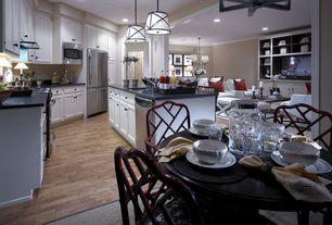 Traditional Kitchen with L-shaped, Undermount sink, Flush, Kitchen island, Silestone Stellar Marine Quartz, Pendant light