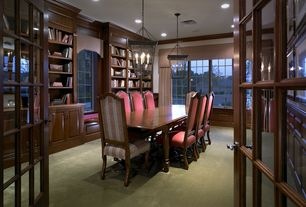 Traditional Home Office with Built-in bookshelf, Crown molding, Carpet, Window seat, Chandelier, French doors