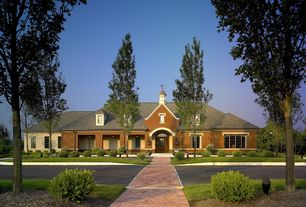 Traditional Exterior of Home with Pathway, Glass panel door, exterior tile floors, Transom window